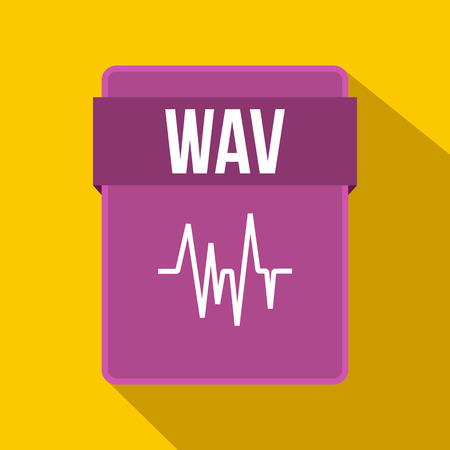wav: WAV file icon in flat style on a yellow background