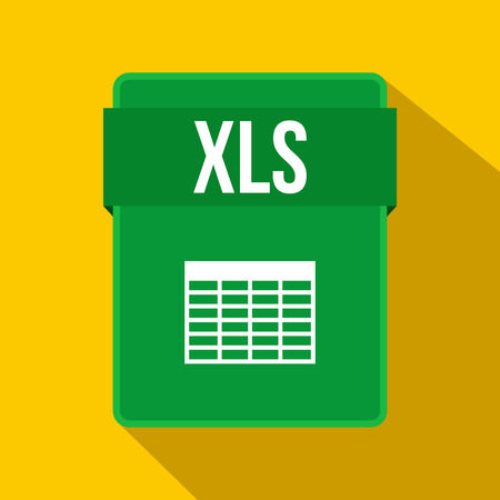 XLS file icon in flat style on a yellow background Çizim
