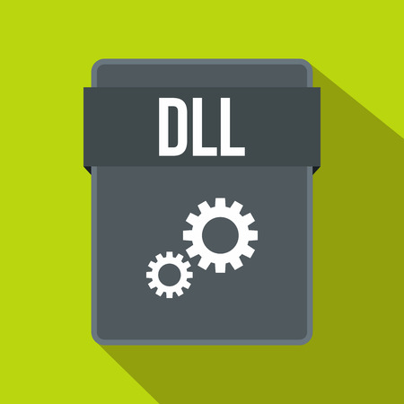 typ: DLL file icon in flat style on a green background