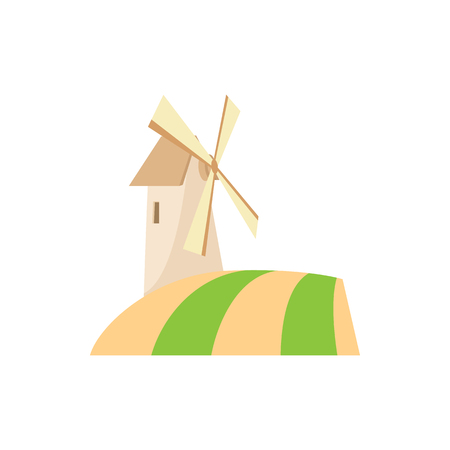 spinning windmill: Windmill icon in cartoon style on a white background
