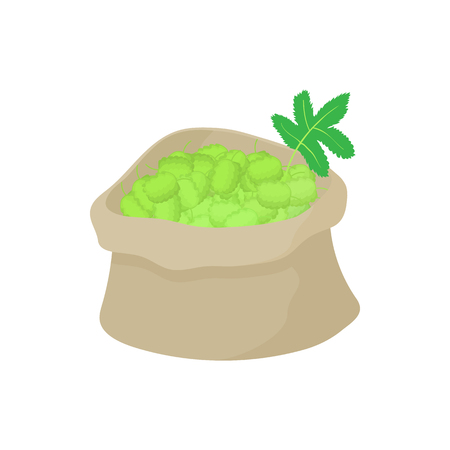 ferment: Sack of hops icon in cartoon style on a white background Illustration