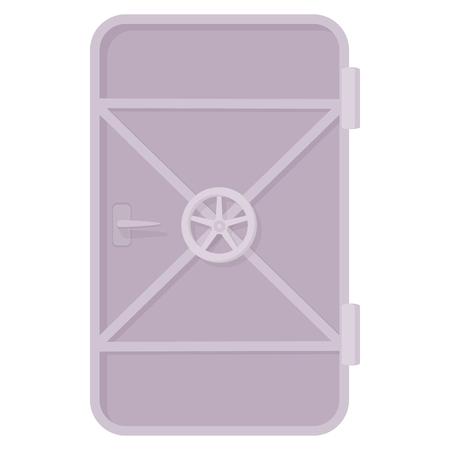 bulkhead: Iron ship door with lock wheel icon in cartoon style on a white background Illustration