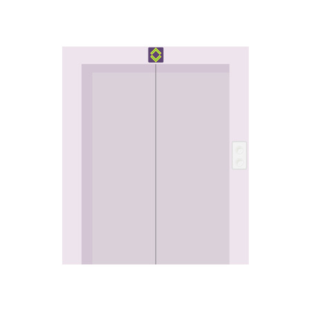lift gate: Elevator with closed door icon in cartoon style on a white background