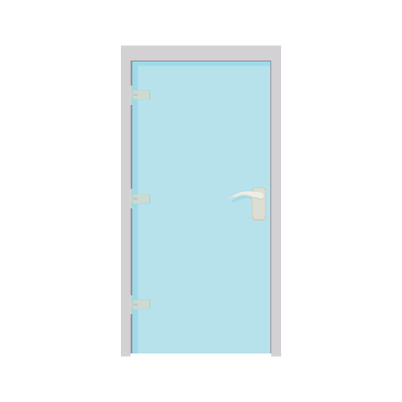 metall and glass: Glass door icon in cartoon style on a white background Illustration