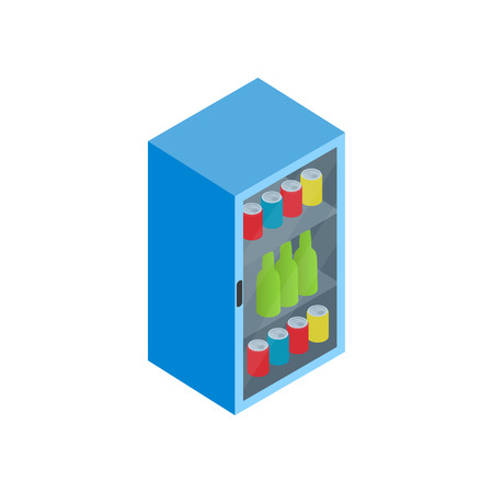chiller: Fridge with refreshments drinks icon in isometric 3d style on a white background