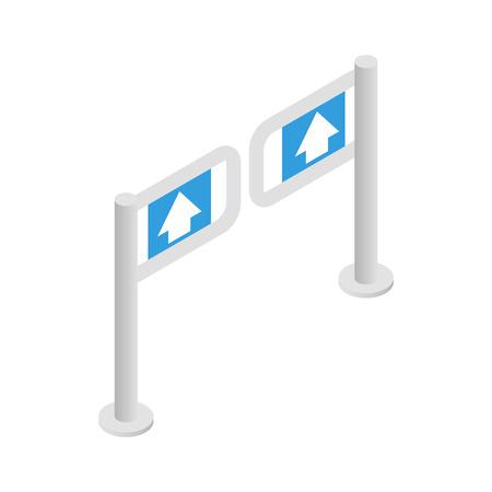 Porte d'entrée dans le supermarché icône dans le style 3d isométrique sur un fond blanc Vecteurs