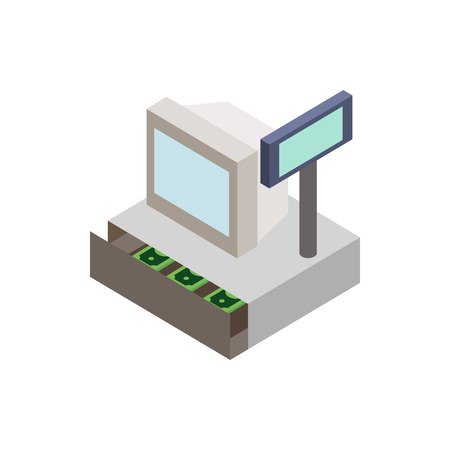 Sale cash register with cash drawer icon in isometric 3d style on a white background