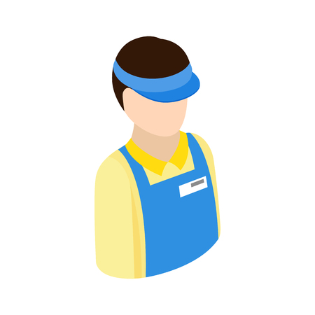checkout counter: Cashier in supermarket icon in isometric 3d style on a white background
