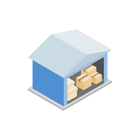 storage facility: Warehouse with open door icon in isometric 3d style on a white background