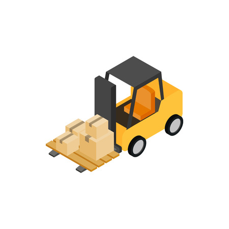 storage facility: Forklift truck with boxes icon in isometric 3d style on a white background