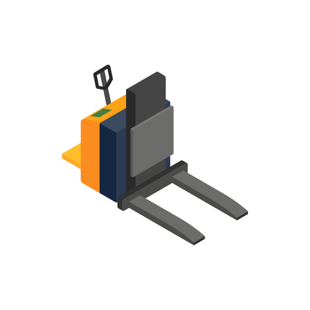 to unload: Forklift loader icon in isometric 3d style on a white background Illustration