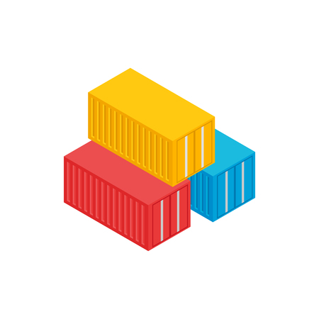 Cargo containers icon in isometric 3d style on a white background
