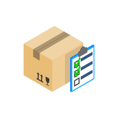 boxed: Box with with to do list icon in isometric 3d style on a white background Illustration