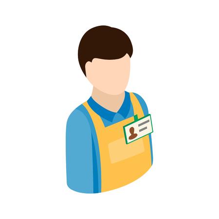 travailleur d'entrepôt icône dans le style 3d isométrique sur un fond blanc