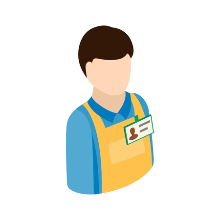 warehouse worker: Warehouse worker icon in isometric 3d style on a white background