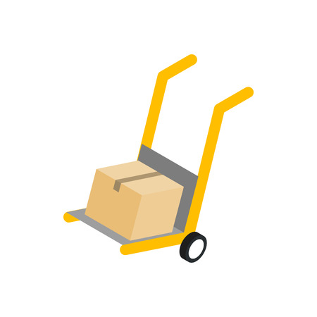 hand cart: Yellow hand cart with cardboard box icon in isometric 3d style on a white background