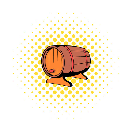 fermenting: Wooden barrel of beer with a tap icon in comics style on a white background