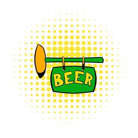 stout: Street signboard of pub icon in comics style on a white background Illustration