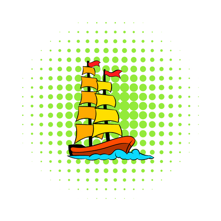 christopher columbus: Old sailing ship icon in comics style on a white background