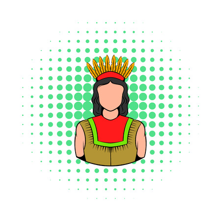 American Indian icon in comics style on a white background