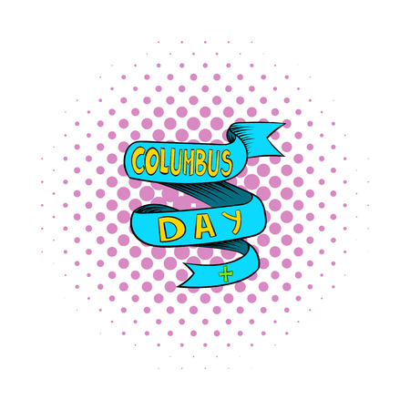 christopher columbus: Blue Columbus Day ribbon icon in comics style on a white background