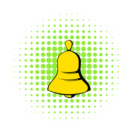 Bell icon in comics style on a white background