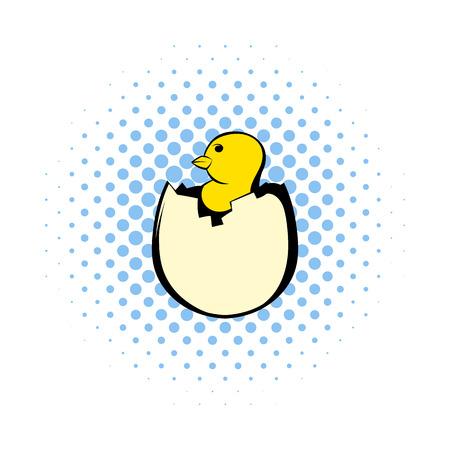 poulet nouveau-né Jaune éclos de l'icône d'oeuf dans la bande dessinée de style sur un fond blanc