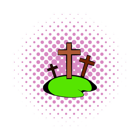 churchyard: Cemetery icon in comics style on a white background Illustration