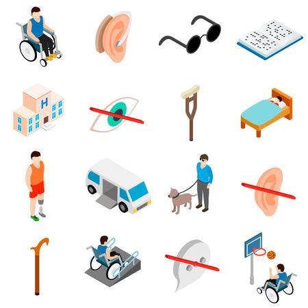 흰색 배경에 고립 된 아이소 메트릭 3D 스타일에서 설정하는 장애인 된 사람들