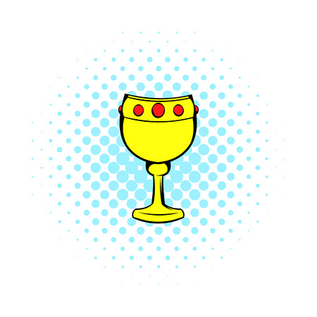 chalice: Chalice with wine icon in comics style on a white background Illustration