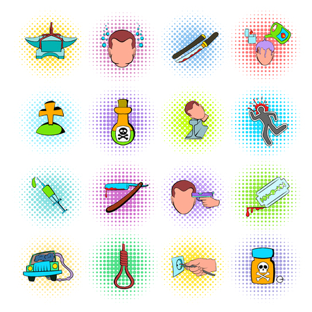 commit: Suicide icons set in comics style isolated on white background