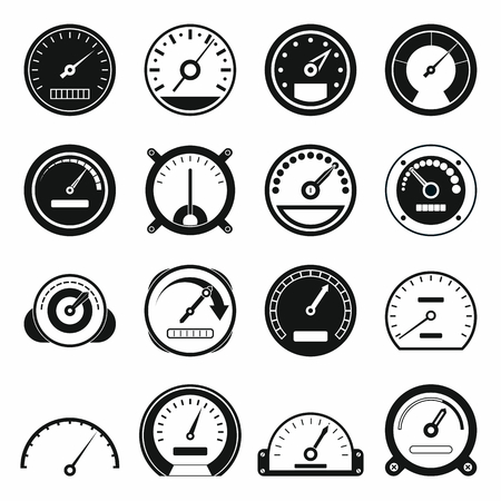 Speedometer icons set in black simple style for any design