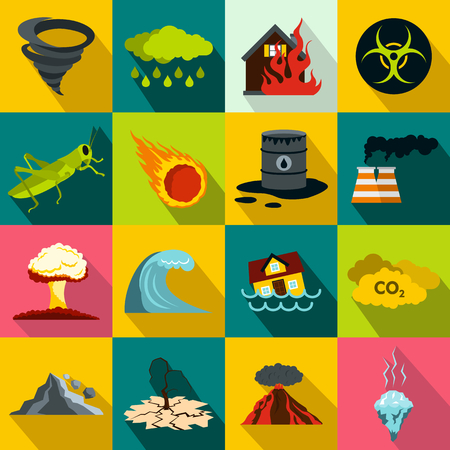 landslide: Natural disaster icons set in flat style for any design