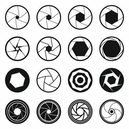 len: Camera shutter icons set in black simple style for any design