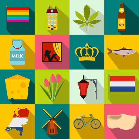 Netherlands icons set in flat style for any design