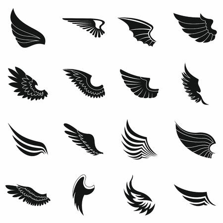 Wings icons set in black simple style for any design