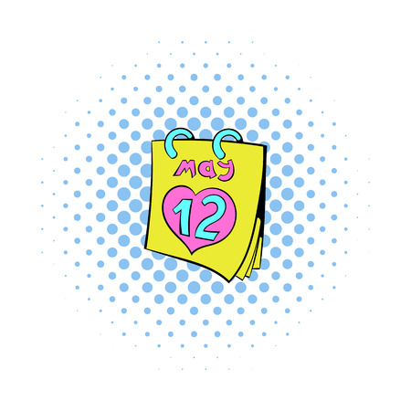 Calendar with Mothers Day date icon in comics style on a white background Иллюстрация