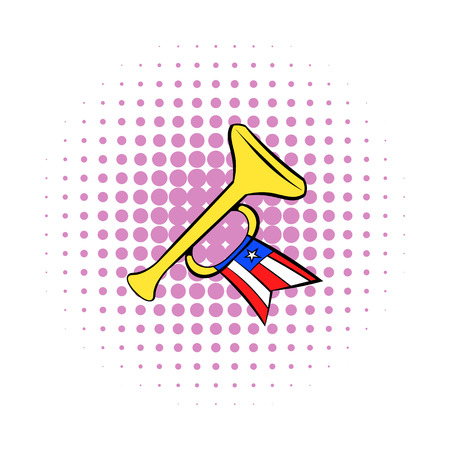 fife: Trumpet with USA flag icon in comics style on a white background