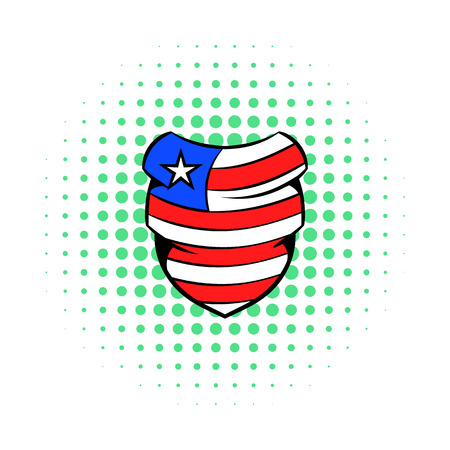 neckerchief: Neckerchief in the USA flag colors icon in comics style on a white background