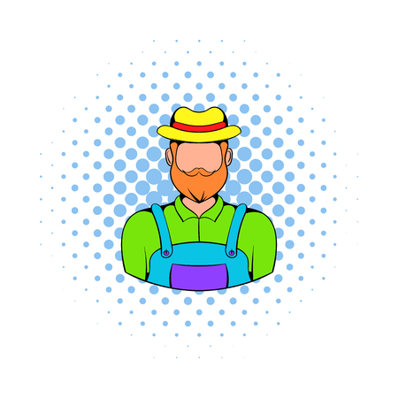 an agronomist: Farmer icon in comics style on a white background