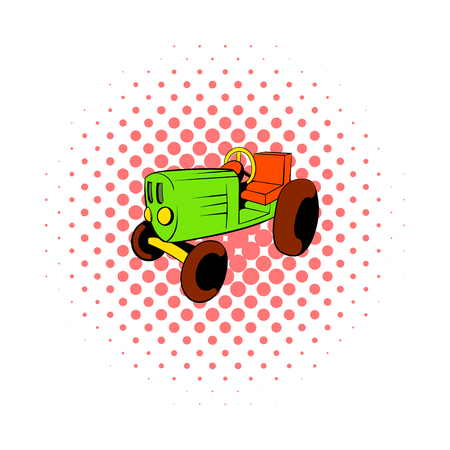 stubble: Tractor icon in comics style on a white background