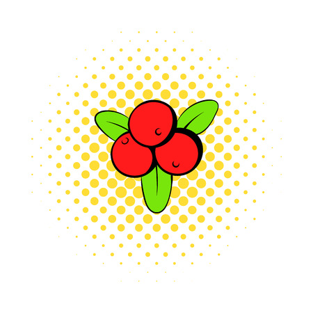 cranberry: Cranberry icon in comics style on a white background Illustration