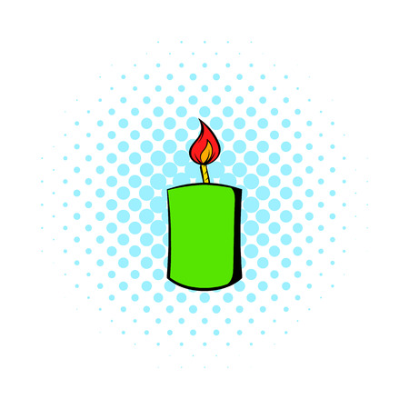 burning: Burning candle icon in comics style on a white background Illustration
