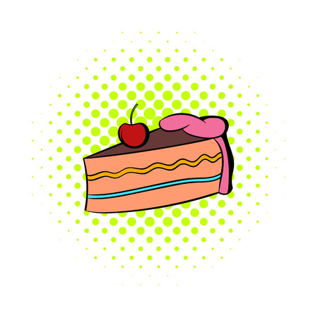 piece of cake: Piece of cake icon in comics style on a white background