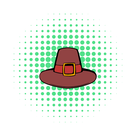 pilgrim costume: Pilgrim hat icon in comics style on a white background Illustration