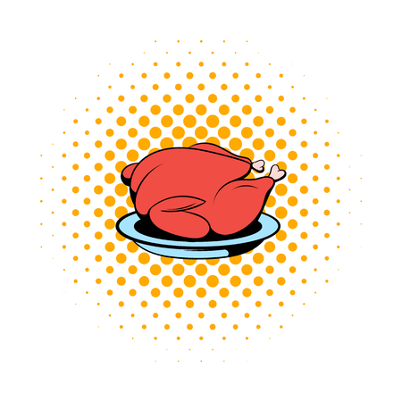 fowls: Roast turkey icon in comics style on a white background