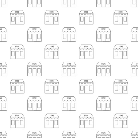 specialty store: Store building pattern seamless black for any design