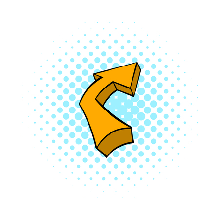 paper sculpture: Broken yellow arrow icon in comics style isolated on white background