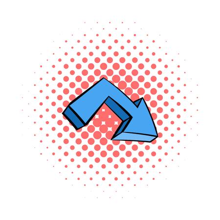 upward movements: Blue arrow icon in comics style isolated on white background Illustration