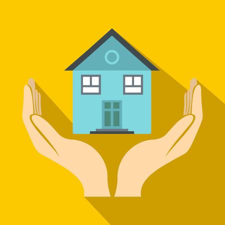 Maison dans les mains icône dans le style à plat sur un fond jaune